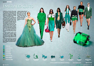 This year emerald green is on the fashion cards