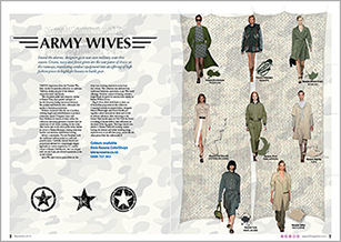 A military influence of cream, navy and forest green is seen on the fashion runways.