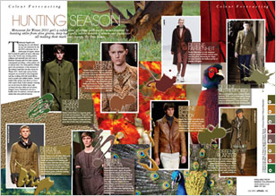 Menswear for Winter 2011 gets a subtle dose of colour with earthy tones inspired by hunting attire